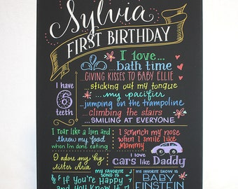 """18""""x24"""" canvas, first birthday chalkboard style custom ink drawing, the original Favorite Things Poster™"""