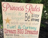 Princess Rules Hand Painted Distressed Sign.  Little Girl Sign.  Princess Sign.
