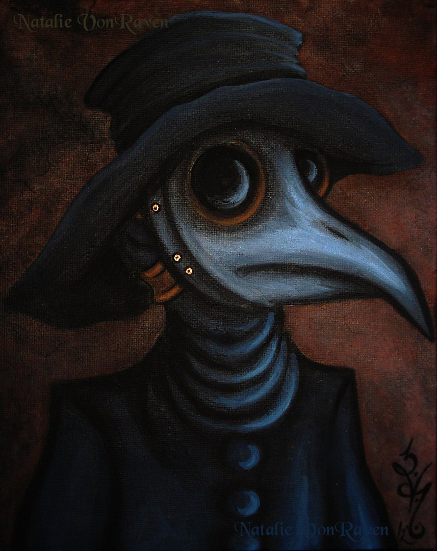 8x10 Print Gothic Fantasy Medieval Plague Doctor Beak Mask