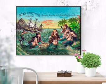 Victorian mermaid art print from antique Ayers Hair Tonic ad