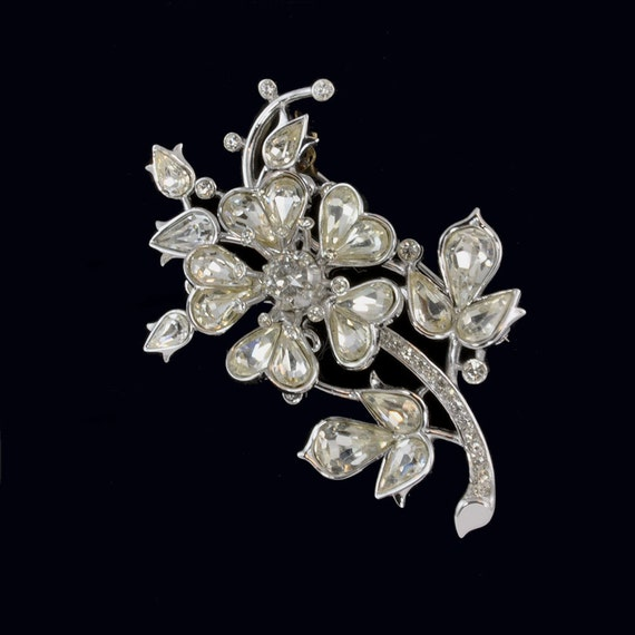 vintage crown trifari brooch rhinestone flower brooch