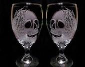 wine glasses , Skulls and Flames , set of two hand engraved glass Goblets  custom barware  gift ideas Halloween skull goblets MC