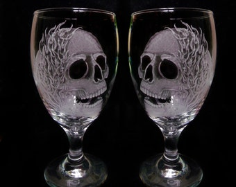wine glasses , Skulls and Flames , set of two hand engraved glass Goblets  custom barware  gift ideas Halloween skull goblets MC