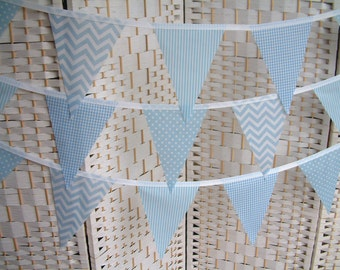 "Banner, bunting. 5""x 7"" flags. Baby blue & white.  Chevrons, spots, stripes, gingham. Single-sided flags. Per metre (39"")."