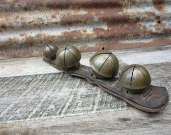 Antique Sleigh Bells Large Set of 4 on Leather Strap Antique Old Sleigh Bells Jingle Bells Merry Christmas Happy Holiday Stocking Stuffer