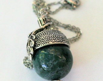 Peter Pan Acorn Necklace Natural Agate, Silvertone metal and Stainless Steel
