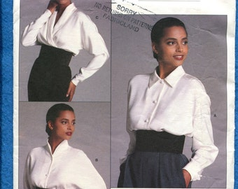 Vintage 1980's Vogue 1981 Gorgeous Blouses by Designer Calvin Klein Size 10