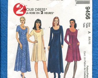McCall's 9456 Princess Seam Flared Dress with Long or Short Sleeves Size 6..8..10 UNCUT