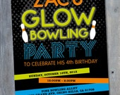 "BOWLING Glow in the DARK Invitation for Birthday Party - Black Light Party - Neon - Personalized - 7""x5"" - Print Your Own - DIY"
