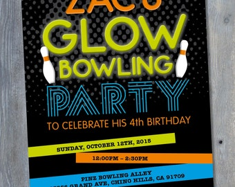 """BOWLING Glow in the DARK Invitation for Birthday Party - Black Light Party - Neon - Personalized - 7""""x5"""" - Print Your Own - DIY"""