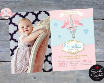 "HOT AIR BALLOON Party Invitation for Girl - Princess 1st Birthday - Printable file - Personalized - 7""x5"" - Photo option - Print Your Own -"