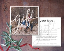 Gift Certificate Photography, Gift Certificate Template, Calligraphy Gift Certificate Card, Photoshop Template, GC102, INSTANT DOWNLOAD