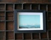 Mountains framed print on silk / original landscape photography / turquoise sky / dreamy scene / fall decor
