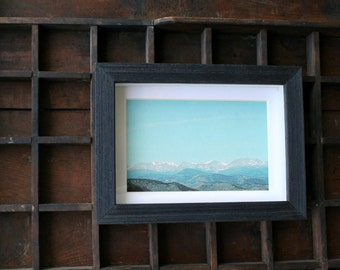 Mountains framed print on silk / original landscape photography / turquoise sky / dreamy scene / fall decor