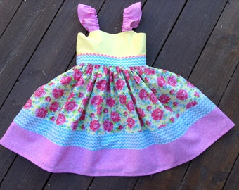Size 5T Twirl Dress, Easter Dress, Spring Dress, Summer Dress, Ready to Ship, Size 5T, Roses, Millie Rose Pattern