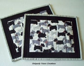 Scottish Terriers Quilted Mug Rug   - Dog Lovers - Black White Grey