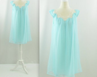 Mint Sorbet Babydoll Nightie - Vintage 1950s Chiffon Nightgown in Medium Large by Dorsay