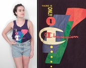 "1980s Champion Tank ""There is Only One Champion"" Top Navy Blue Men's M Women's L"