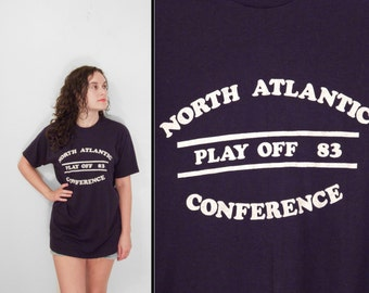 1983 North Atlantic Conference T-Shirt Play Off 50/50 Men's S / M Women's Med / Large