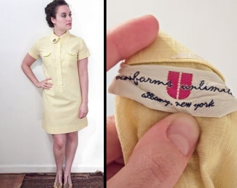 1960s UNIFORM Dress ABC Patch Yellow Uniforms Unlimited Size Small