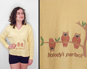 "Pullover OWL Sweater 80s ""Nobody's Perfect"" Yellow V Neck M / L"