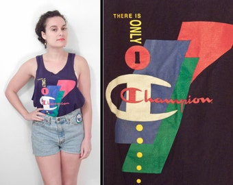 """1980s Champion Tank """"There is Only One Champion"""" Top Navy Blue Men's M Women's L"""