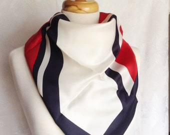 Vintage Hand printed Acetate Twill Square Headscarf Scarf Red Blue White Diagonal Design Made in Japan
