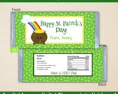 St. Patrick's Day Chocolate Bar Wrappers - Pot of Gold Candy Bar Wrapper - Saint Patrick's Day Wrapper - Digital & Printed