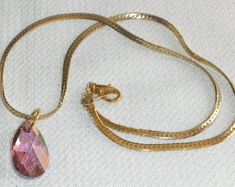 Crystal Lilac Shadow Necklace with Faceted Teardrop Pendant on Gold Cable Chain SWAROVSKI Crystal Violets & Real Gold Romance Elegance