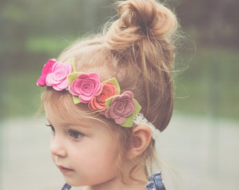 Pink Felt Flower Crown