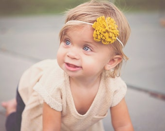 Baby Girl Headband - Mustard Felt Pom Baby Girl Headband