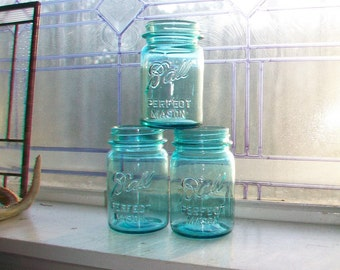 3 Vintage Blue Ball Perfect Mason Jar Pints 1923 to 1933
