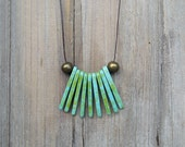 Green Fringe Ceramic Necklace, Spike Necklace, Long, Clay, Tribal Necklace