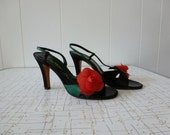 70's Halston Shoes Made in Italy Red Rose Black Leather Sandals Heels 6.5
