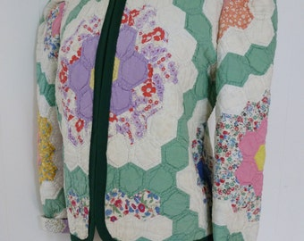 40's Quilt Coat Cotton Feedsack Patchwork Quilted Jacket L