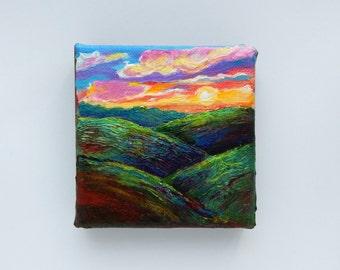 """Landscape, """"SUNSET"""", Original Painting, Mini Painting, 4x4, Office Decor, Sunset Painting,Home Decor, Stretched Canvas"""