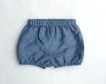 Boy shorties, Blue Diaper Cover, Linen, Vintage Style, Pinstripe Bloomers,  Blue Shorties, Bloomers, Baby Boy Prop, Gender Neutral