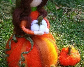 Needle Felted Pumpkin Maiden, Handmade, Felted Pumpkins, Fall Decoration, Waldorf Inspired