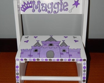 Princess Step stool - Hand painted and Personalized