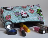Handmade Unique Rockabilly and Roses Large Makeup Bag // Cosmetic Pouch // Pencil Case // Rockabella // Spider webs