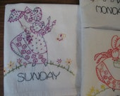FREE SHIPPING OOAK Sunbonnet Sue Daily Set of Seven Teatowels