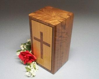 Religous Figured  Walnut  Cremation Urn, Wooden Cremation Urn, Wooden Urn, Religious Urn, Urn Box, Memorial Urn, Urns, Unique Urn, Wood Urn.