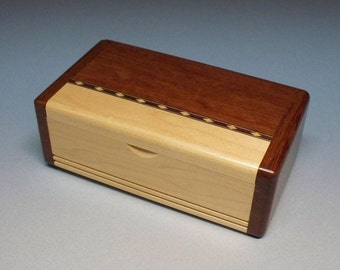 Bubinga & Maple Inlay Box, Gift Idea, Best Man Gift, Small Wooden Box, Watch Box, Corporate Gift, Small Wooden Box