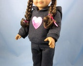Doll Clothes fit American Girl - 18 Inch Doll Clothes - Doll Hoodie and Sweatpants - Dark Gray with Pink Heart