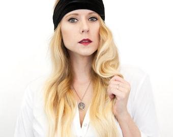 Wide Headband, Womens Headband, Velvet Headband, Black Headband, Ear Warmer Adult Headband, Womens Gift, Women Gift for Her Yoga Headband