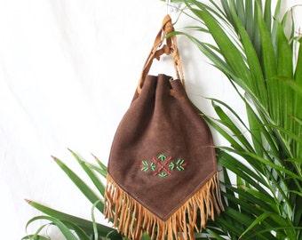c1970's Native Beaded Fringe Handbag Pouch