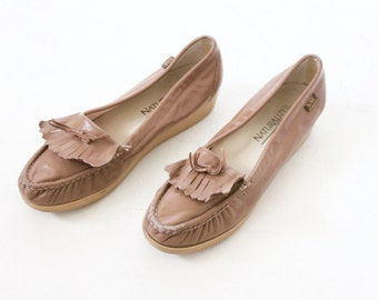 Vintage Taupe Leather Moccasin Loafers Sz 8N