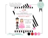PRINTABLE INVITATION. Princess and Pirate Birthday Party in pink and red. Jpeg or PDF file. Includes Hair Color of Choice & Multiple colors