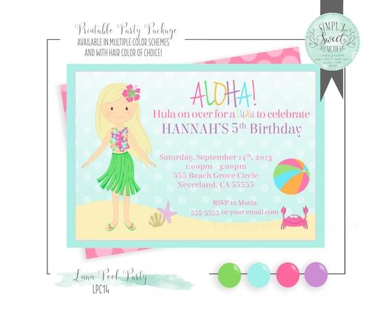 Luau Pool Birthday Party Invitation Printable PDF Jpeg Available