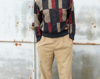 Vintage Geo Abstract Knit Retro Men Preppy Crewneck Cosby Sweater Patchwork Colorblock Grandpa Pullover